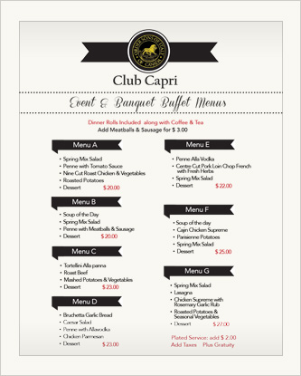 Club Capri Banquet Menu