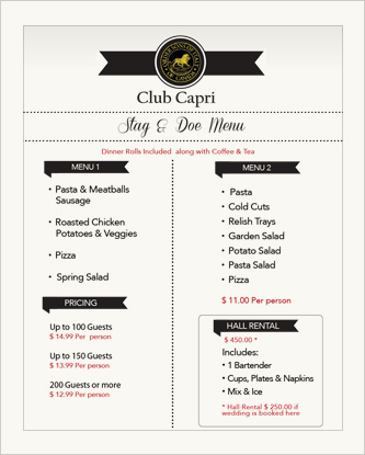 Club Capri Stag and Doe Menu