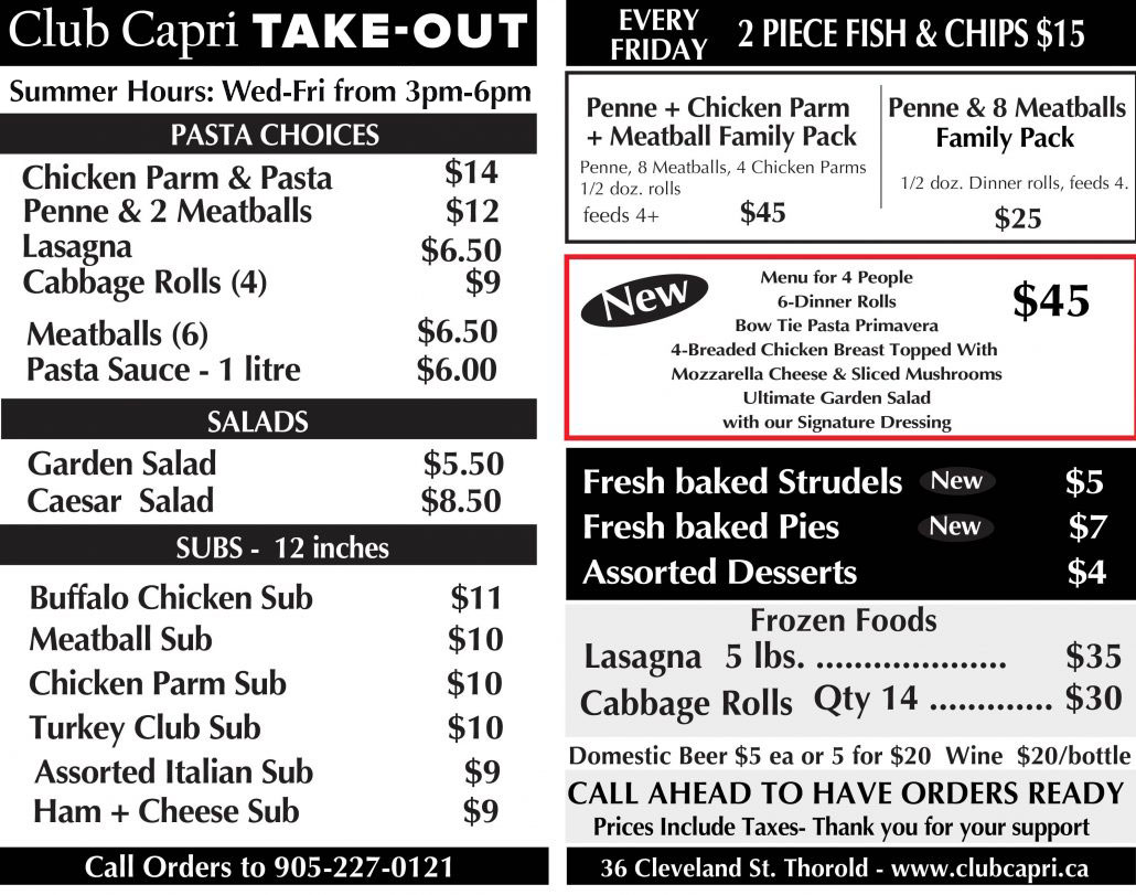 Club Capri Takeout Menu